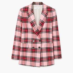 Mango Pink Plaid Blazer